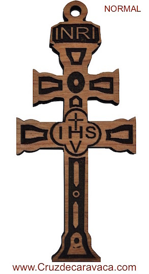 CROSS OF CARAVACA WOOD CARVED STANDAR