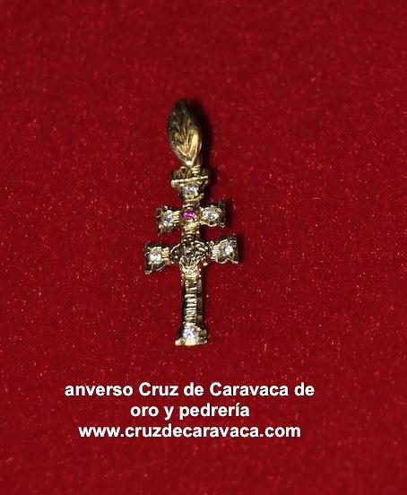 CROSS OF GOLD AND STONE CARAVACA (Zircon)