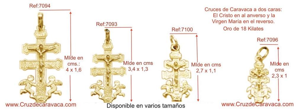 CRUZ CARAVACA CON CRISTO ANGELES A DOS CARAS