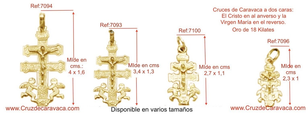 CRUZ CARAVACA DE ORO CON CRISTO ANGELES A DOS CARAS