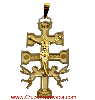 CRUZ DE CARAVACA A RELIEVE DE ORO AMARILLO Y BLANCO CON ANGELES Y CRISTO