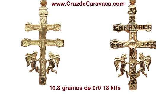 CRUZ DE CARAVACA DE ORO CON ANGELES Y LA INSCRIPCIÓN