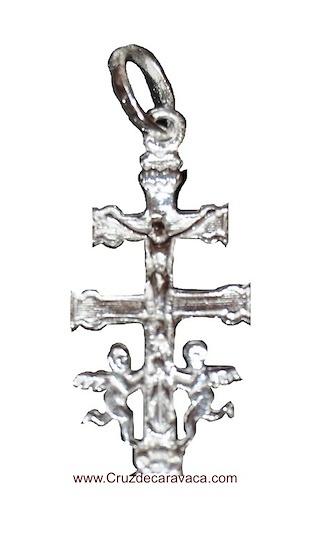CRUZ DE CARAVACA DE PLATA CON ANGELES CRISTO Y LA VIRGEN