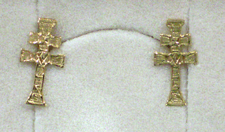 EARRINGS CROSS OF CARAVACA MADE IN GOLD
