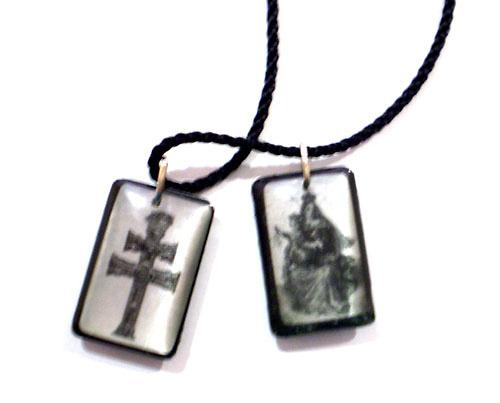 ESCAPULARIO CRUZ DE CARAVACA Y VIRGEN Y CORAZÓN DE JESUS