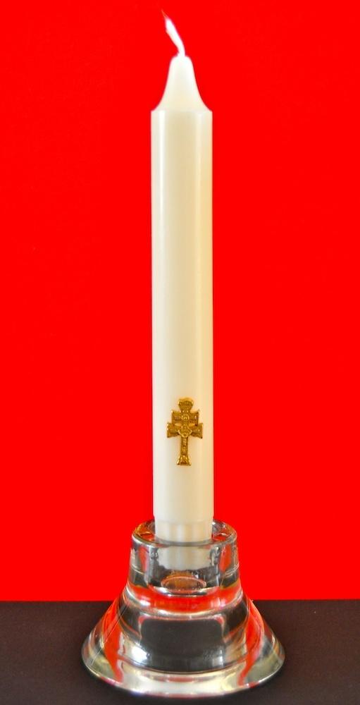 GLASS CANDLEHOLDER AND CANDLE GOLDEN CROSS CARAVACA
