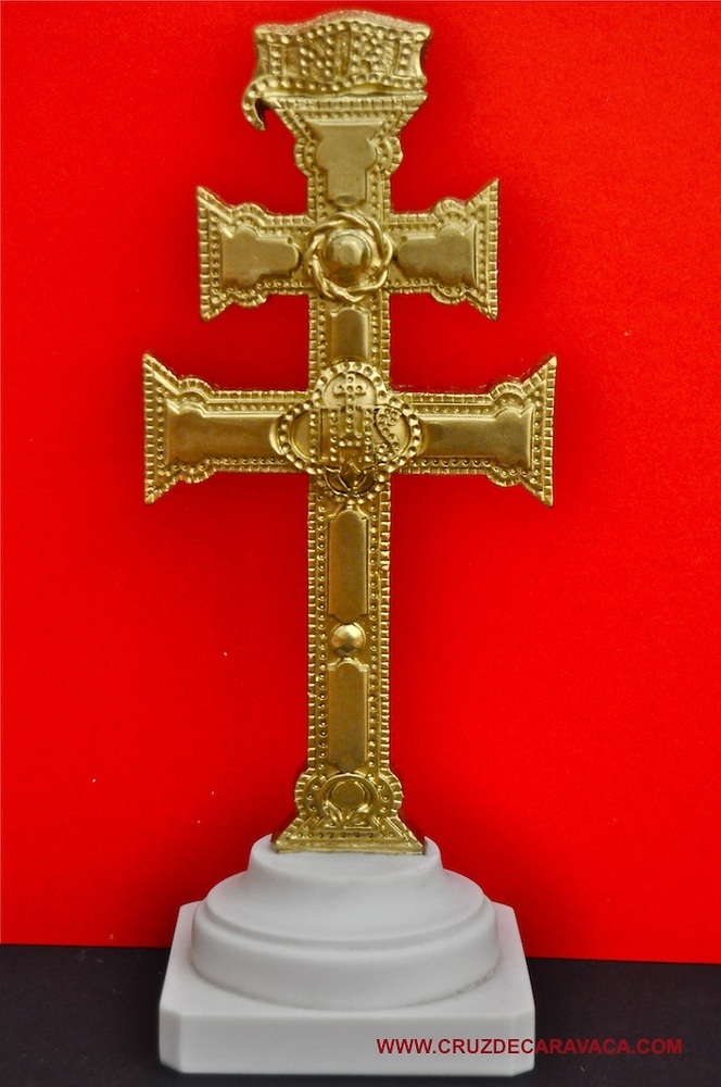 GOLDEN CROSS WITH BASE MADE CARAVACA IN MARMOLINA