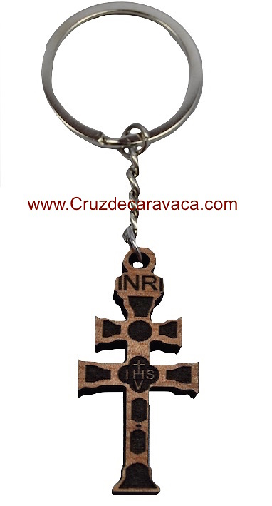 KEYCHAIN CROSS OF CARAVACA CARVED WOOD