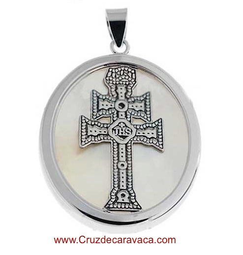 Medal of the cross of caravaca of silver and nacre long medal caravaca cross made in mother of pearl and silver long mozeypictures Choice Image