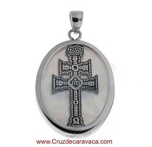 MEDAL CARAVACA CROSS MADE IN MOTHER OF PEARL AND SILVER