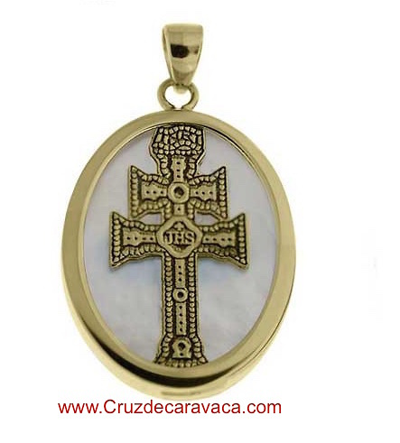 MEDAL CARAVACA CROSS MADE IN NACRE AND SILVER GOLD PLATED