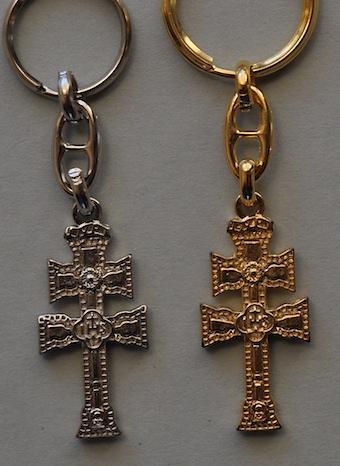 METAL KEYCHAIN CROSS RELIEF CARAVACA RELIQUARY DUPLEX Cross of Caravaca
