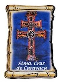 PERGAMINO CRUZ DE CARAVACA A RELIEVE CON IMAN PEQUEÑO