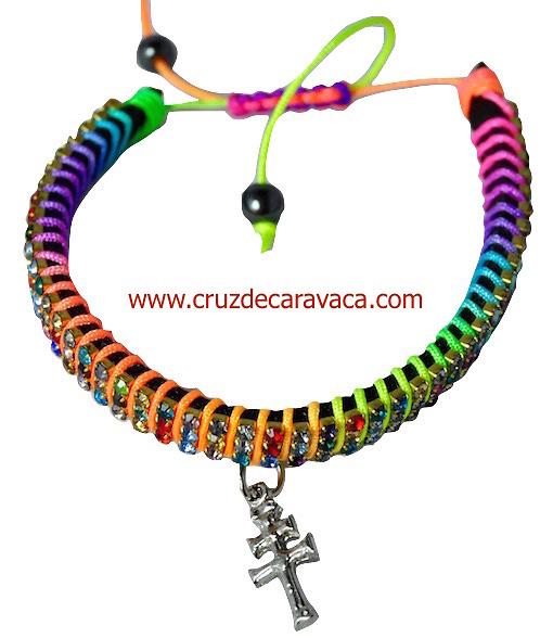 PULSERA CRUZ DE CARAVACA CON CRISTALES STRASS AJUSTABLE