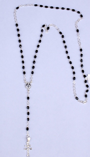 ROSARY CROSS CARAVACA MADE IN ONYX AND SILVER