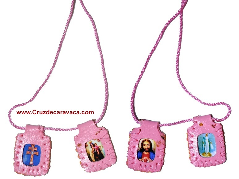 SCAPULAR CROSS CARAVACA, HEART OF JESUS, OUR LADY OF CARMEN AND LADY OF FATIMA