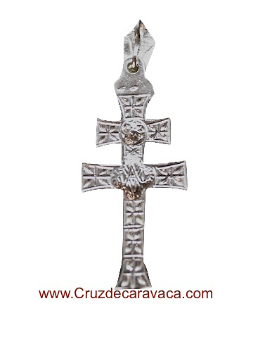 SILVER CARAVACA CROSS OF LAW TO RELIEVE TO TWO FACES
