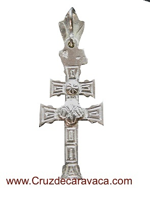 SILVER CARAVACA CROSS OF LAW TO RELIEVE TO TWO SIDES