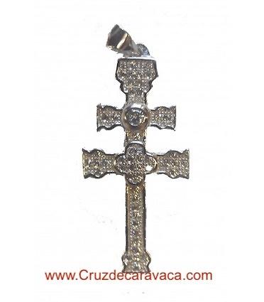 SILVER CARAVACA CROSS WITH CIRCONITES STONES