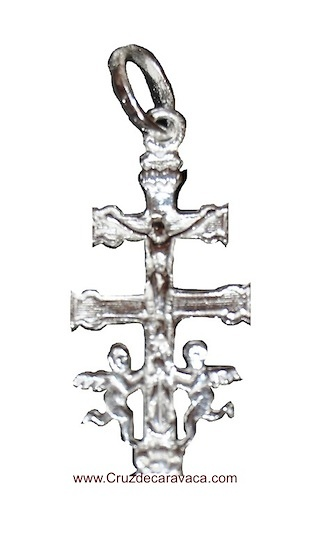 SILVER CROSS CARAVACA WITH ANGELES CHRIST AND THE VIRGIN
