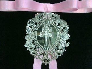 SILVER CROSS OF CARAVACA INFANT MEDALLION