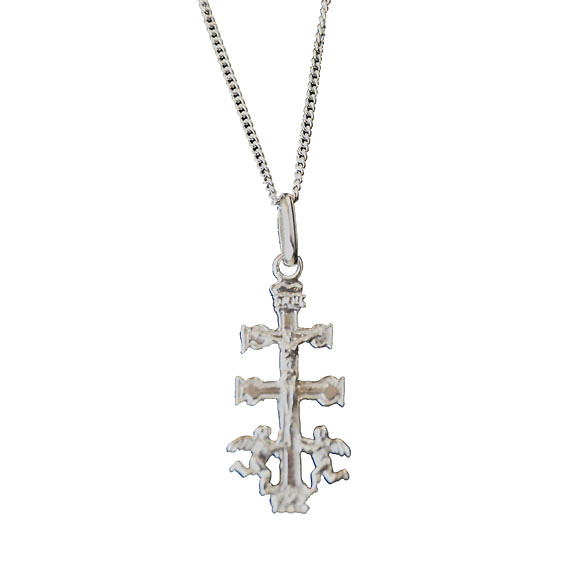 SILVER CURB CHAIN ​​AND CROSS WITH ANGELS CARAVACA