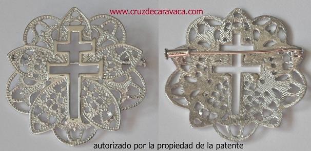 SPILLA MEDAGLIA CROCE DI CARAVACA DE ARGENTO PUFF F3486
