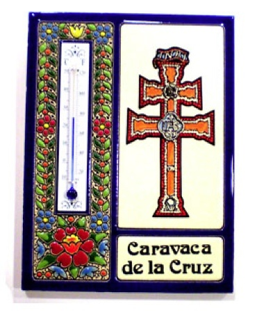 TERMOMETRO CRUZ DE CARAVACA ENMARCADO EN AZUL GR