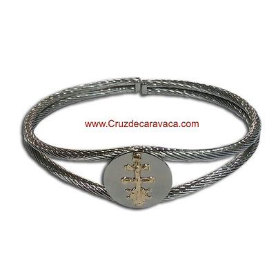 01970b7e1a4d pulsera cruz caravaca de acero y oro de dos cordones