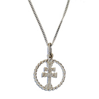ARAVACA CROSS SILVER AND SILVER CHAIN