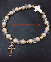 BRACELET  CARAVACA  CROSS,  CROSS AND PEARL