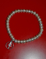 BRACELET  CARAVACA  SILVER CROSS AND NATURAL PEARL RIVER
