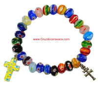 BRACELET CROSS OF CARAVACA AND CRUZ LATIN CON CRISTAL DE MURANO