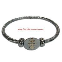 BRACELET CROSS OF CARAVACA MAKE IN STEEL ONE-CORD  AND GOLD FOR WOMAN