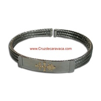 BRACELET CROSS OF CARAVACA MAKE IN STEEL THREE-CORD  AND GOLD CROSS OF CARAVACA