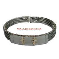 BRACELET CROSSES  OF CARAVACA MAKE IN STEEL FOUR-CORD  AND GOLD CROSS OF CARAVACA