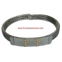 BRACELET CROSSES OF CARAVACA MAKE IN STEEL THREE-CORD  AND GOLD CROSS OF CARAVACA