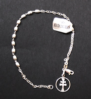 BRACELET MADE IN SILVERPF  CROSS OF CARAVACA  OVAL TRIM