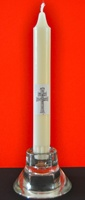 CANDLEHOLDER CROSS CRYSTAL AND CANDLE CARAVACA
