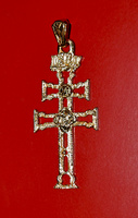 CARAVACA´S CROSS  MADE IN GOLD ON SILVER FOR HANGING  OP-4