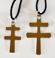 CARAVACA CROSS ALUMINUM  CUT BY HAND WITH LACE