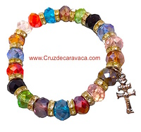 CARAVACA CROSS BRACELET GLASS COLORS FACETED