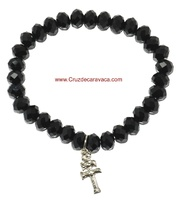 CARAVACA CROSS BRACELET GLASS FACETED BLACK ROCK