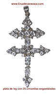 CARAVACA  CROSS CARVED SILVER ZIRCON