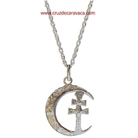 CARAVACA CROSS CRESCENT SILVER AND SILVER CHAIN
