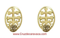 CARAVACA CROSS EARRINGS BABY GOLD WITH CIRCONIT