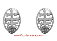 CARAVACA CROSS EARRINGS BABY SILVER WITH CIRCONIT