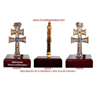 CARAVACA CROSS ENAMELED METAL DUPLEX WITH WOOD STAND