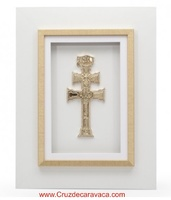 CARAVACA CROSS FRAME WHITE AND GOLDEN FRAME