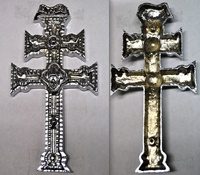 CARAVACA CROSS IN BRONZE CAST IN SILVER-CHROME BATH
